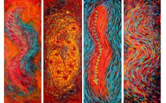 Abhivyaktis -A grid of 4..each 1.6 X 4 feet..Oil ,acrylic,sequins,stickers and cloth patches